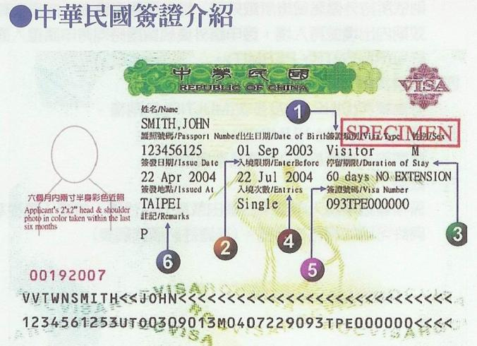 Example visa for Taiwan (R.O.C.)