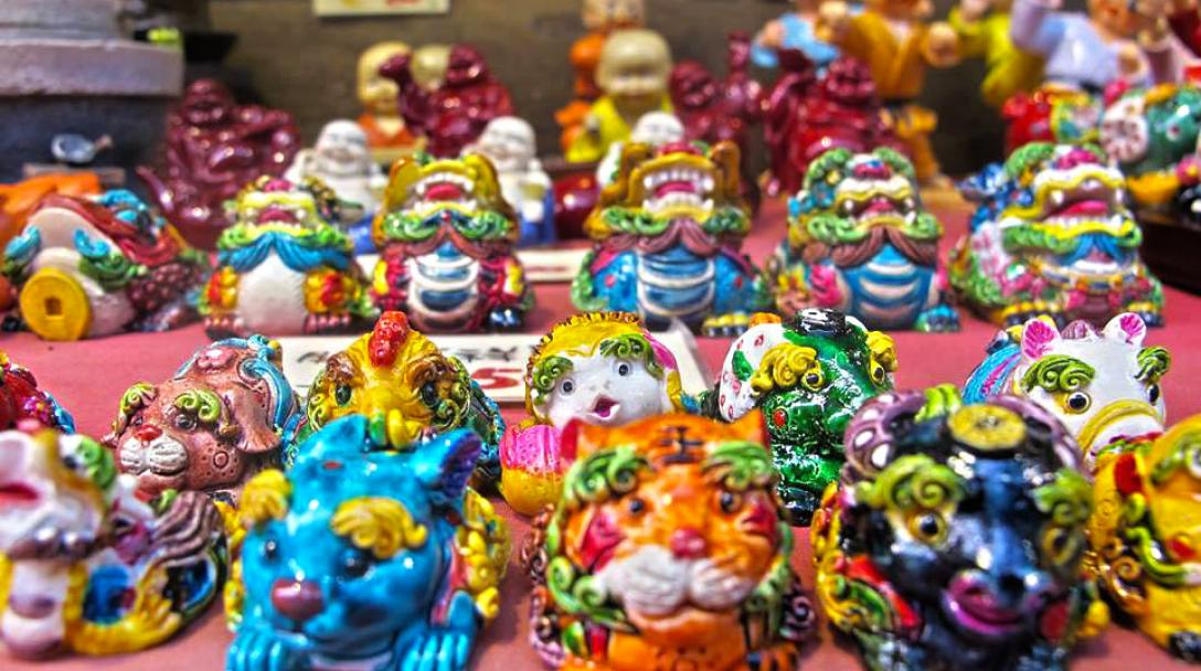 Traditional ornaments on sale at Shilin Night Market